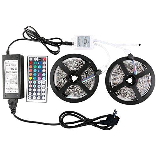 WenTop Led Strip,150leds 5050 LED Streifen,Nicht Wasserfest 10m Led Lichtleiste,mit 44 Key IR Controller und Stromversorgung für Garten, Haus, Küche, Garage