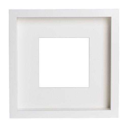 RIBBA Bilderrahmen, Weiß, 23 x 23 x 4,5 cm, Motiv kann auf Vorder- oder Rückseite des extra-tiefen Rahmens platziert werden