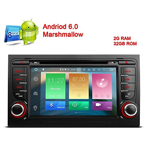 freeauto 17,8 cm Android 6.0 HD Digital Kapazitive Touchscreen Autoradio DVD Player GPS für Audi A4 S4 RS4 Seat Exeo mit Canbus Screen Mirroring Funktion OBD2 Octa-Core 64bit 2 G RAM 32 GB ROM
