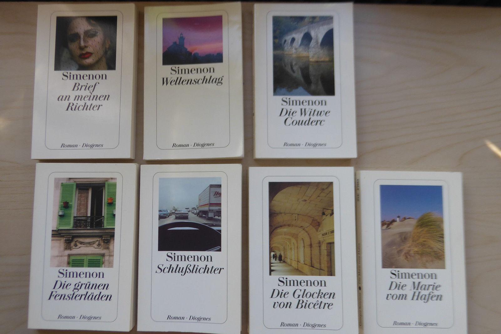 7 Bücher von Georges Simenon / u.a. Wellenschlag, Schlusslichter, Marie vom Hafe