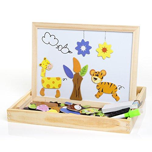 Buself Magnetisches Holzpuzzle Spielzeug ab 2 jahren,Magnetpuzzle Kinderspielzeug ab 2 jahre Magnettafel kinder Magnetisches holzpuzzle Spiele ab 2 jahre für Kinder Jungs Mädchen 3 4 5 Jahren Alt