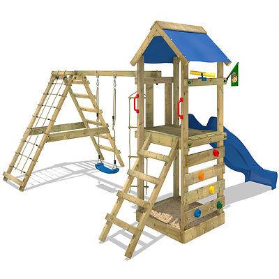 WICKEY StarFlyer Spielturm Kletterturm Sandkasten blaue Rutsche Schaukel Garten