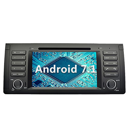 YINUO 7 Zoll 1 Din Android 7.1.1 Nougat 2GB RAM Quad Core Autoradio Moniceiver DVD GPS Navigation 1080P OEM Stecker Canbus Orange Farbe Tastenbeleuchtung für BMW 5 E39 Series 1996-2001 / BMW 5 E39 Series 2002-2003 / BMW X5 E53 Series 2000-2001 / BMW X5 E5