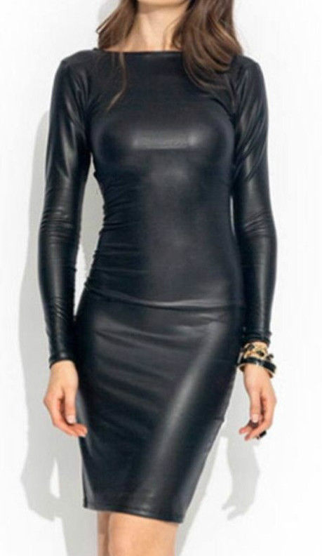 WOMENS BLACK DRESS PVC WET LOOK MINI MIDI VINYL LEATHER BODYCON SIZE 10 & 12