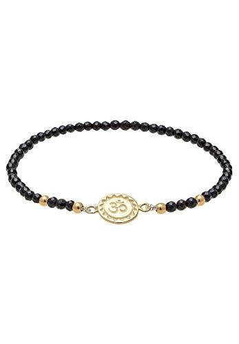 Elli Damen-Armband Om 925 Silber Onyx schwarz Brillantschliff 16 cm - 0209520216_16
