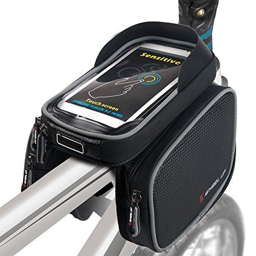 Fahrradtasche Fahrrad Rahmentasche Gepäckträger Fahrrad Tasche Handy halterung Sensitive Touch-Screen Wasserdicht Groß Schwarz