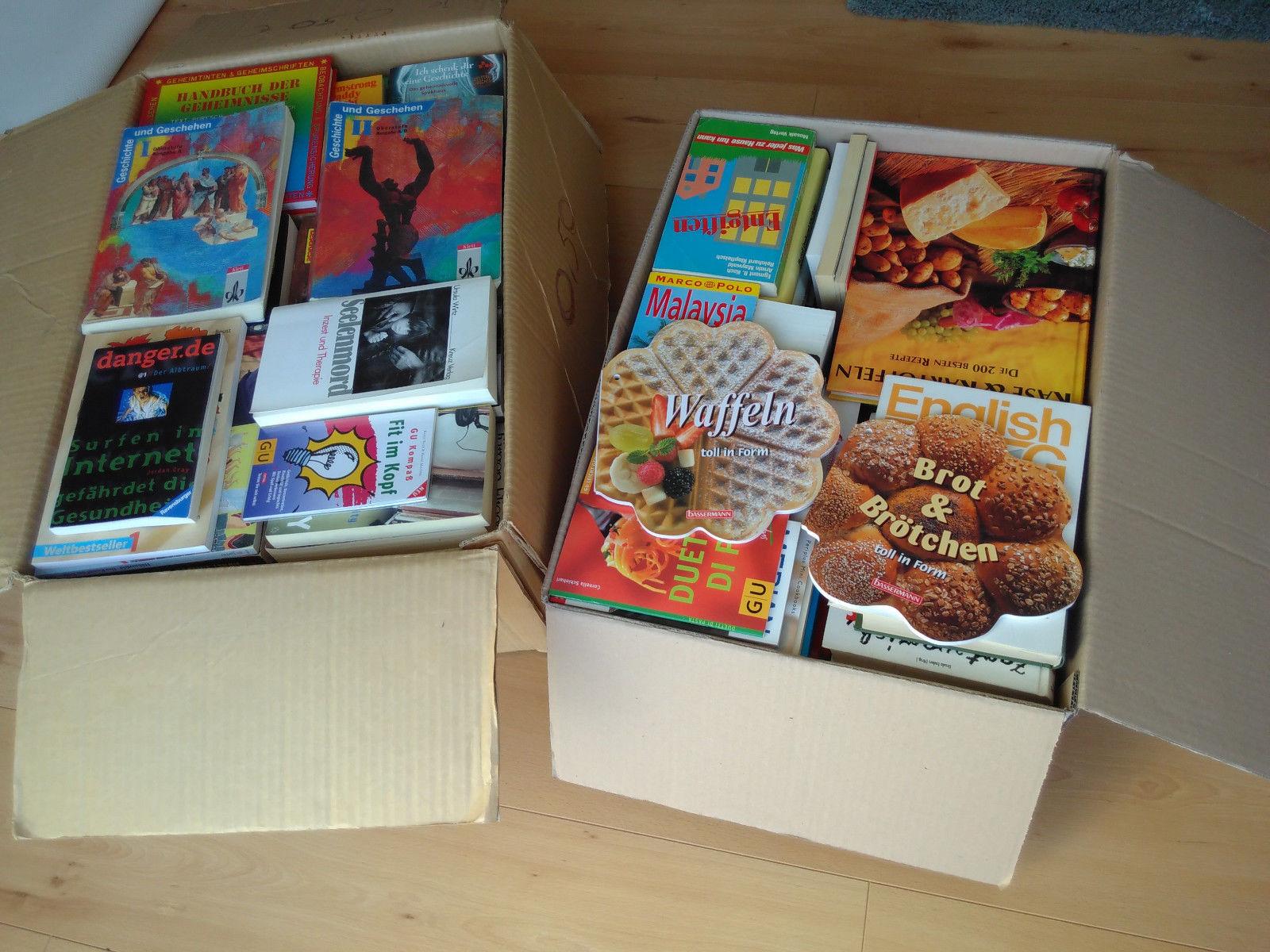 2 Bücherkisten mit 157 Büchern - Romane - Sachbücher - Kinderbücher - Kochbücher