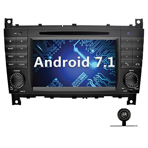 YINUO 7 Zoll 2 Din Android 7.1.1 Nougat 2GB RAM Quad Core Autoradio Moniceiver DVD GPS Navigation 1080P OEM Stecker Canbus Orange Tastenbeleuchtung für Mercedes-Benz C-Class W203 (2004-2007) / Benz CLK W209(2004-2005) Unterstützt DAB+ Bluetooth OBD2 Wlan