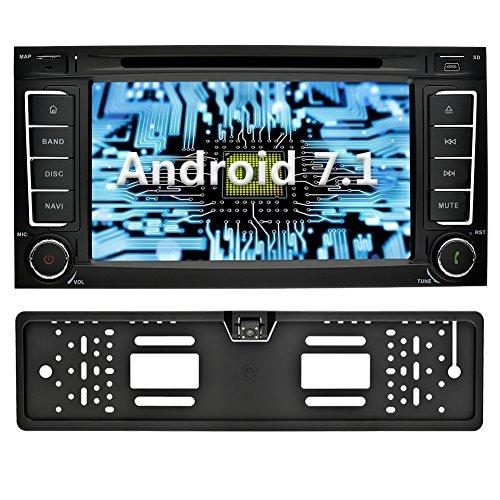 YINUO 7 Zoll 2 Din Android 7.1.1 Nougat 2GB RAM Quad Core Autoradio Moniceiver DVD GPS Navigation 1080P OEM Stecker Canbus 7 Farbe Tastenbeleuchtung für VW TOUAREG 2004-2011/VW Transporter bis 2009 / VW T5 Multivan 2009-2013 Unterstützt DAB+ Bluetooth OBD