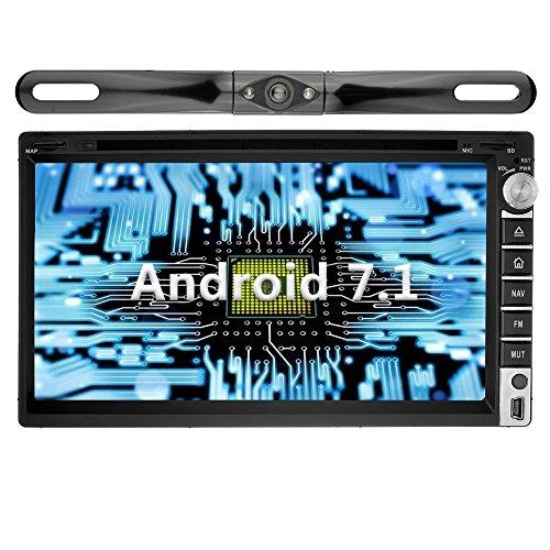 YINUO 6.95'' Zoll Android 7.1.1 Nougat 2GB RAM Quad Core 2 DIN universal Autoradio Moniceiver GPS Navigation mit Bluetooth 7 Farbe Tastenbeleuchtung DVD-Spieler IPOD und USB SD Funktion Unterstützt DAB+ Bluetooth OBD2 Wlan (Autoradio mit Kamera 5)