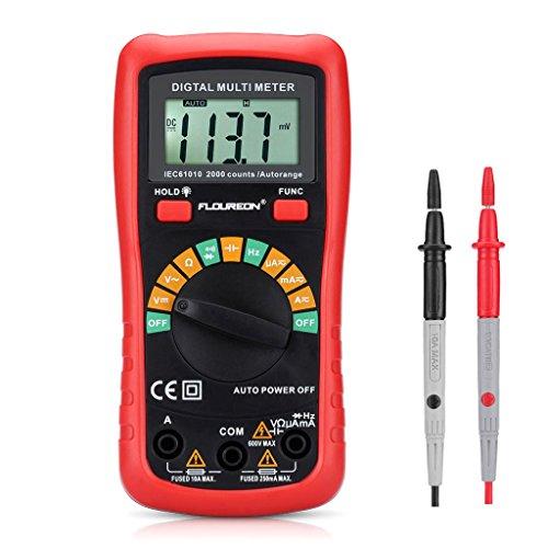 Floureon Digital Multimeter Messgeräte Spannungsmesser Stromprüfer Widerstand Strommessgerät AC/DC voltmeter Auto Range Pocket Multi Tester mit NCV 2000 Counts Diode Transistor Kontinuität Test.