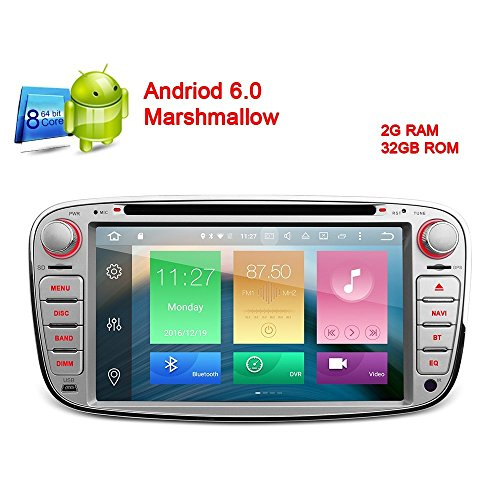 freeauto Android 6.017,8cm Kapazitive Touchscreen Autoradio DVD Player GPS Canbus Screen Mirroring Funktion OBD2Octa-Core 64bit 2G RAM 32GB ROM Remasuri für Ford Focus Mondeo