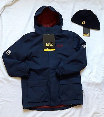 Jack Wolfskin Boys Snowpark Jacket Jacke in Gr. 140 + Fleecemütze Real Stuff TOP
