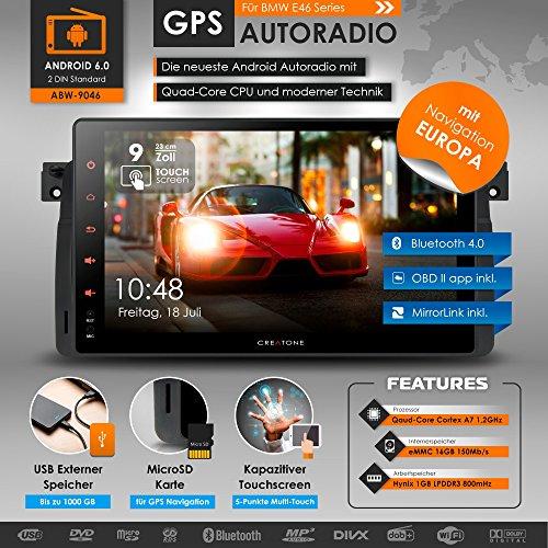 2DIN Android 6.0 Autoradio CREATONE ABW-9046 für BMW 3 Serie E46 M3 318i 320i 325i 328i mit GPS Navigation (Europa) | Quad-Core Prozessor, Wi-Fi 2,4GHz - 5GHz, Bluetooth 4.0, Touchscreen 9 Zoll (23cm), DAB+, MirrorLink, OBD 2, DVD-Player und USB/SD-Funkti