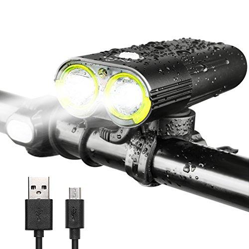 INTEY LED Fahrradlicht USB Wiederaufladbare Fahrradbeleuchtung, 5000mAh 1600 Lumen und 6 Licht Modi als Power Bank mit Fernbedienungstaste für Sicheres Radfahren, Schwarz