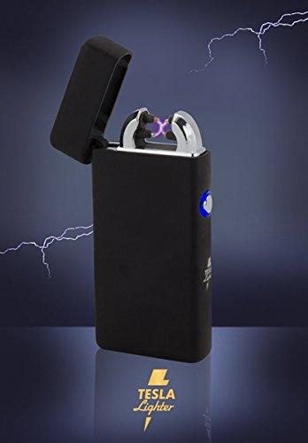 Tesla-Lighter T08 Lichtbogen Feuerzeug Elektro Double-Arc elektronisch wiederaufladbar. Aufladbar per USB mit Strom ohne Gas und Benzin. Mit Ladekabel in edler Geschenkverpackung Schwarz matt