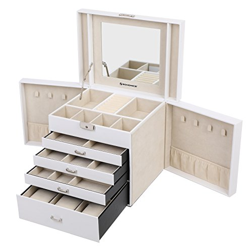 Songmics Schmuckkasten Groß Schmuckkästchen Uhrenbox 5 Schichten mit 4 Schubladen abschließbar mit spiegel Weiß JBC217W