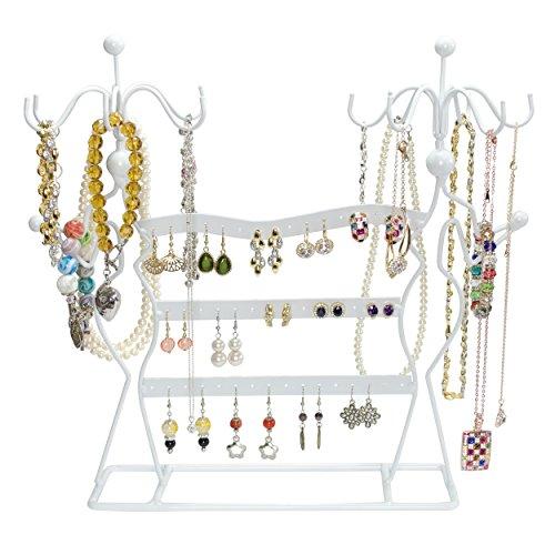 VENKON - Design Schmuckständer Ohrringhalter Kettenhalter Schmuck Organizer aus Metall - weiß - 35,5 x 34 x 12,5 cm