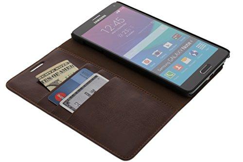 QLEDER Tasche Hülle Case ''Key West'' für das Samsung Galaxy Note 4 braun aus echtem Leder mit Visitenkartenfach und Bargeldfach. Hochwertige Klapphülle als Tasche Zubehör für das Originale Samsung Galaxy Note 4