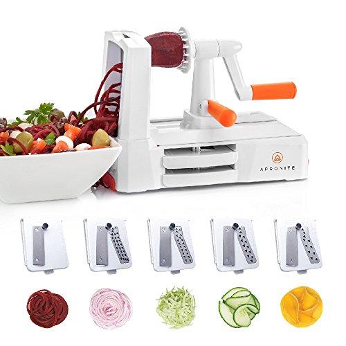 Gemüse Spiralschneider mit 5 Klingen – der beste gemüsenudeln Schneider für Curly Fries, Früchte, Julienne Nudeln, Zucchini, als Spaghetti & Pasta-Maker – Dies ist eine All-in-One-Maschine, die als Spiralenschneider, Häcksler und Hacker dient