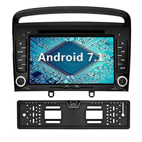 YINUO 7 Zoll 2 Din Android 7.1.1 Nougat 2GB RAM Quad Core Autoradio Moniceiver DVD GPS Navigation 1080P OEM Stecker Canbus Orange Tastenbeleuchtung für Peugeot 308 2011 2012 2013 Unterstützt DAB+ Bluetooth OBD2 Wlan Schwarz (Autoradio mit Kamera 4)