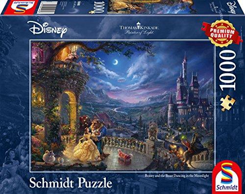 Schmidt Spiele Puzzle 59484 Disney, Die Schöne und das Biest, Tanz im Mondlicht, Thomas Kinkade,  1000 Teile