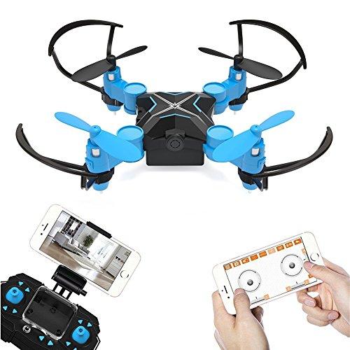 Metakoo Mini Drohne mit Kamera Live Übertragung RC Quadrocopter Ferngesteuertes Flugzeug 2.4Ghz 4Kanal 6 Achsen Gyro WiFi FPV Drone Video Mini Quadrocopter Blau