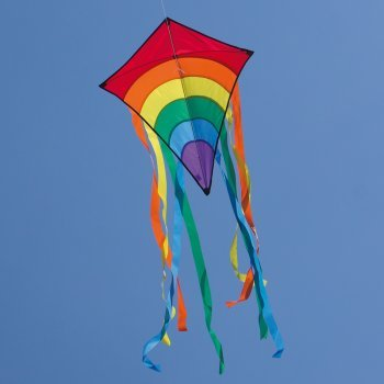 Kinderdrachen - Rainbow Eddy RED - Einleiner für Kinder ab 3 Jahren - Abmessung: 65x74cm - inkl. 80m Drachenschnur und 8x105cm Streifenschwänze