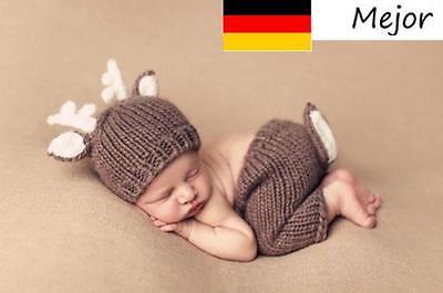 Neugeborene Baby Knit Strick Fotoshooting Kostüm Hirsch Mütze Höschen!!! NEU!Hot