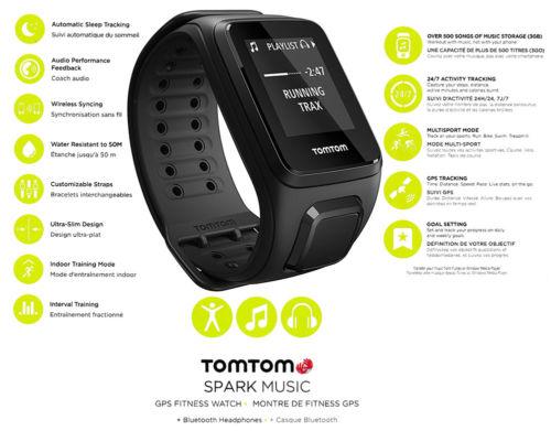 TOMTOM SPARK MUSIC GPS Fitness Sportuhr Large / Schwarz / Bluetooth 1REM.003.04
