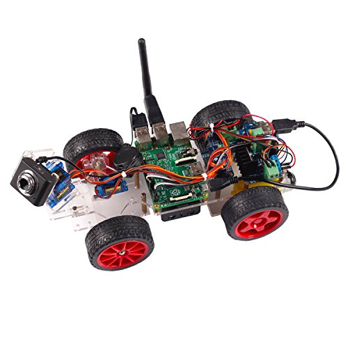 SunFounder Roboterbausatz Smart Video Car Kit Programmierbarer Auto-Roboter for Raspberry Pi with Android App, Compatible with RPi 3, 2 and RPi 1 Model B+ (Pi Not Included)