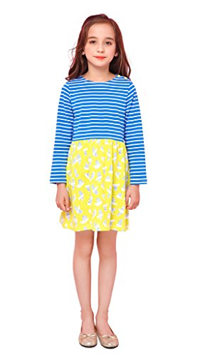 Kaily Mädchen Baumwolle Langarm Gestreift T-shirt Kleider Mit Tasche(Navy,3T)