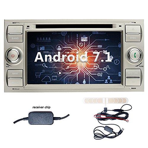 YINUO 7 Zoll 2 Din Android 7.1.1 Nougat 2GB RAM Quad Core Autoradio Moniceiver DVD GPS Navigation 1080P OEM Stecker Canbus 7 Farbe Tastenbeleuchtung für Ford C-Max/Connect/Fiesta/Focus/Fusion/Galaxy/Kuga S-Max/Transit/Mondeo Silber Unterstützt DAB+ Blueto