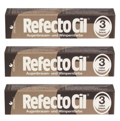 3er Set: Refectocil Augenbrauen & Wimpernfarbe 3 naturbraun 15ml