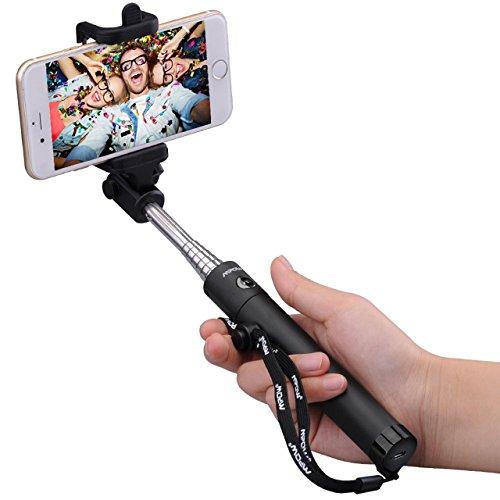 Mpow iSnap X U-Form Selfie Stange Erweiterbar Selfie-Stick mit integrierter Bluetooth Fernauslöser für iPhone 6 6S 6 Plus 6S Plus 5S 5 5C 4S 4, HTC M9 M8, Sony Z5 Z4 Z3 Compact, MP3 Players usw. - Schwarz
