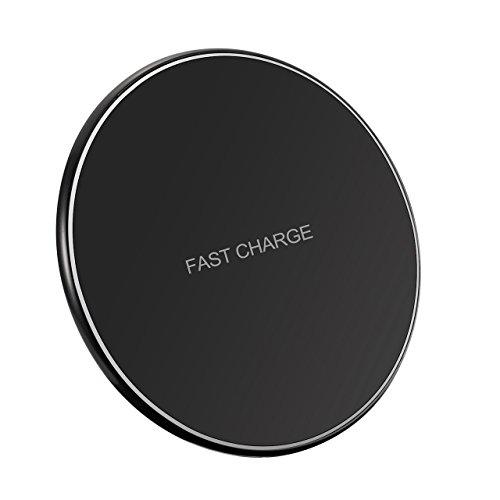 Fast Wireless Charger, Holife?Schlaf Freundlich?10W Qi Ladegerät Induktive Ladestation, Handy Qi Charger für iPhone 8/iPhone 8 Plus/iPhone X/Samsung Galaxy Note 8/S8/S8 Plus/S7/S7 Edge/S6 Edge Plus/Note 5 und alle Qi-fähige Geräte