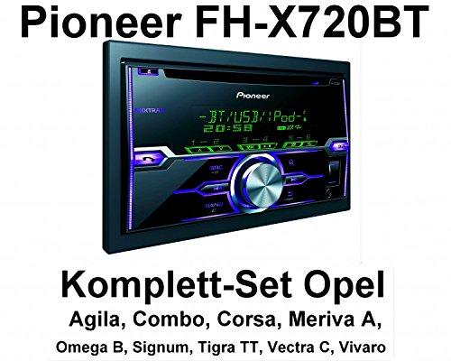 Komplett-Set Opel Vectra Omega Corsa Signum Meriva Pioneer FH-X720BT Bluetooth, Farbe der Radioblende:Charcoal (Anthrazit)