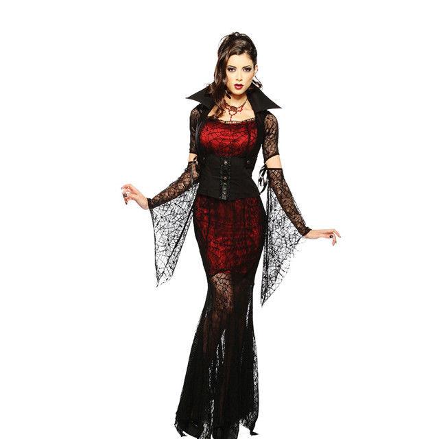 Halloween Karneval Vampir Vampirin Königlich Kostüm DamenKleid Verkleidung