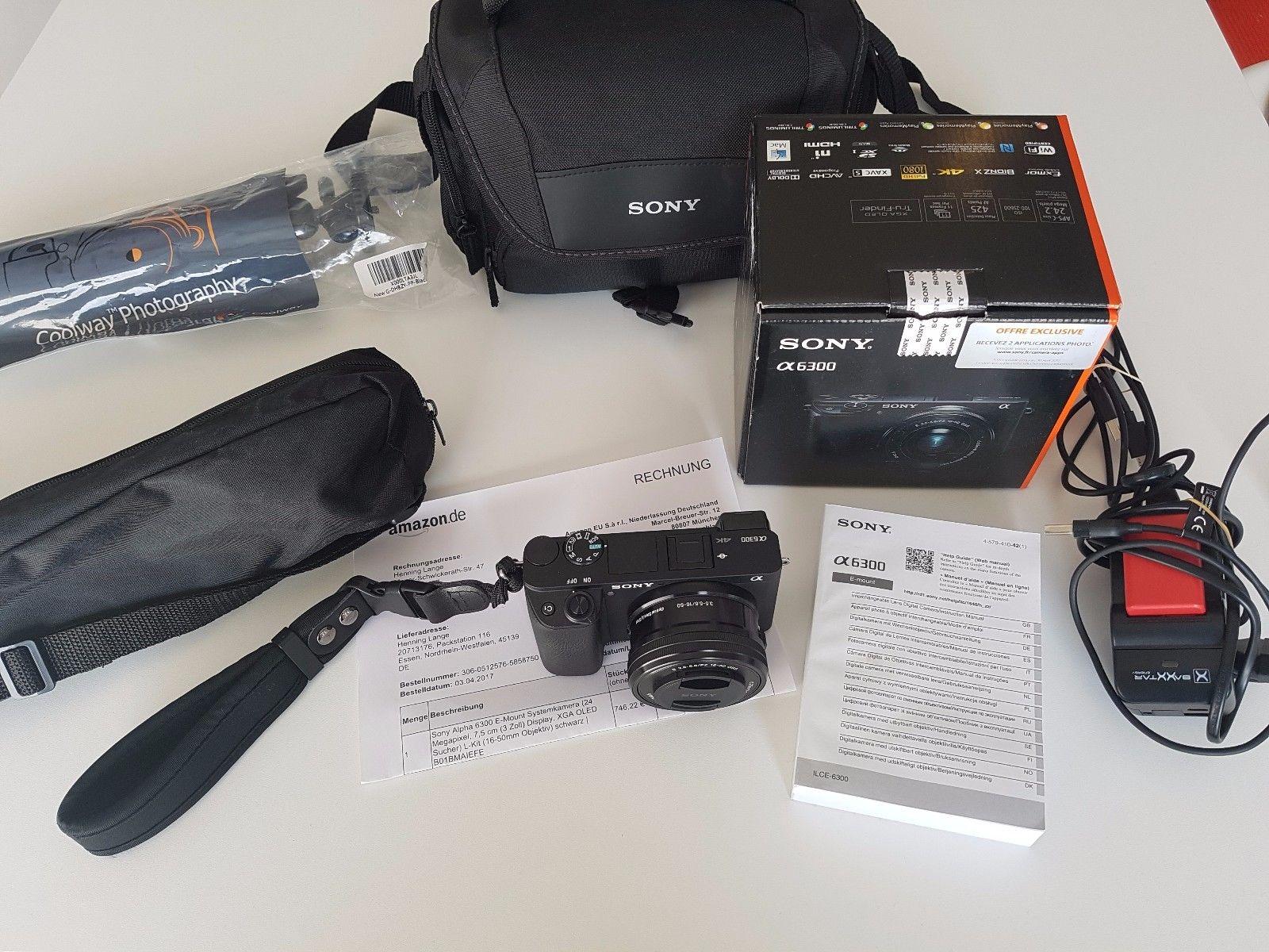 Sony Alpha 6300 + 16-50 mm Objektiv + 64GB SD+ Zubehörpaket, wie neu, Rechnung