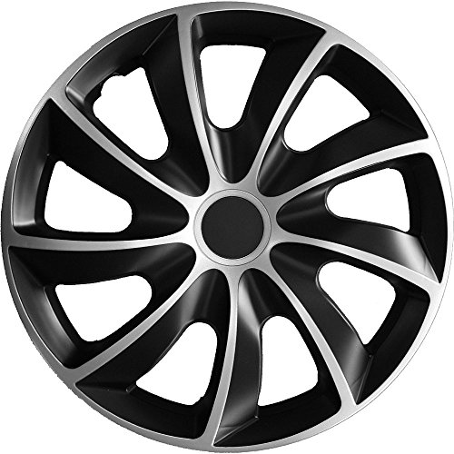 (Farbe und Größe wählbar) 14 Zoll Radkappen QUAD Bicolor (Schwarz-Silber) passend für fast alle Fahrzeugtypen – universal