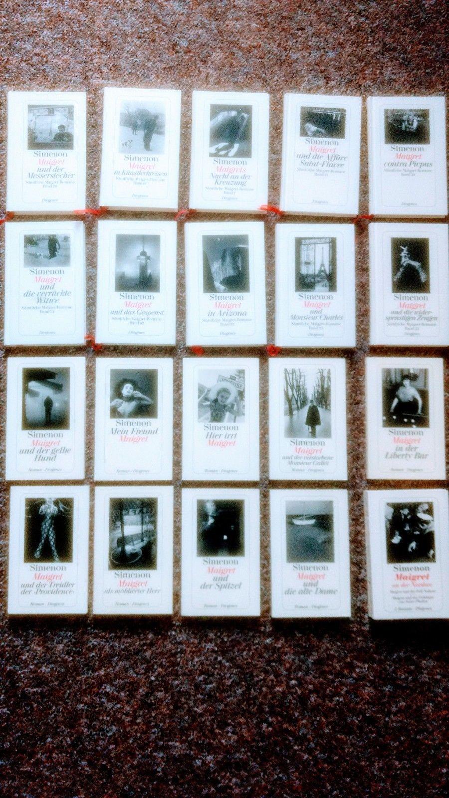 20 Maigret Krimis, Georges Simenon Roman Sammlung, Diogenes Gebunden