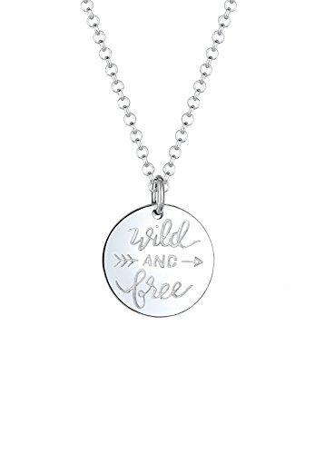 Elli Damen-Kette mit Anhänger Wordings Wanderlust Pfeil 925 Silber 45 cm - 0105111217_45