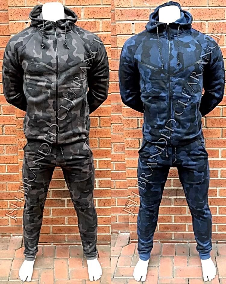 Mens Camouflage Camo Design Tracksuit Slim Fit Joggers Pants Bottoms & Zip Hoody