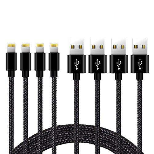 Nylon Kabel 4*2m iPhone Ladekabel Verbindungskabel Lightning haltbar Datenkabel für Apple iPhone 6 Plus/6 /5/5S/6S, iPad 4 iPad Mini/Air iPod und iPod 7 Arbeitet mit neuesten iOS-Update (SCHWARZ)