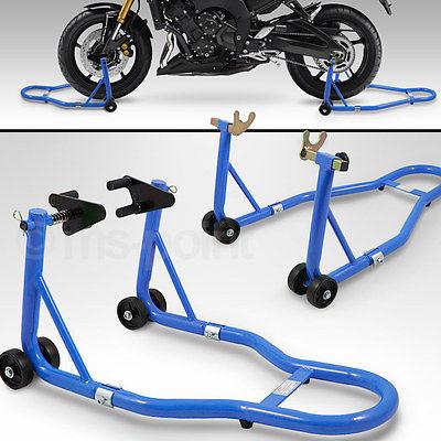 Motorrad Montageständer SET hinten & vorn Motorradständer Transportständer Blau