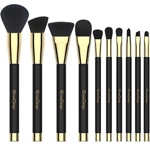 Emaxdesign Make-up-Pinsel 10 Stück Professionell Premium Kosmetik Bürsten für Grundierung, Highlights, Lidschatten, Augen und Gesicht geschwungene Make up Pinsel.