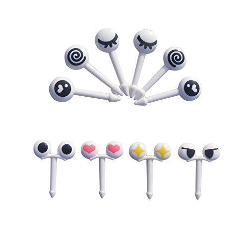 Bobury 10pcs/set Mini Augen Karikatur Ausdruck Frucht Gabel Plastikfrucht Zahnstocher für Kinder