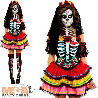 Day of the Dead Senorita Ladies Fancy Dress Halloween Skeleton Womens Costume