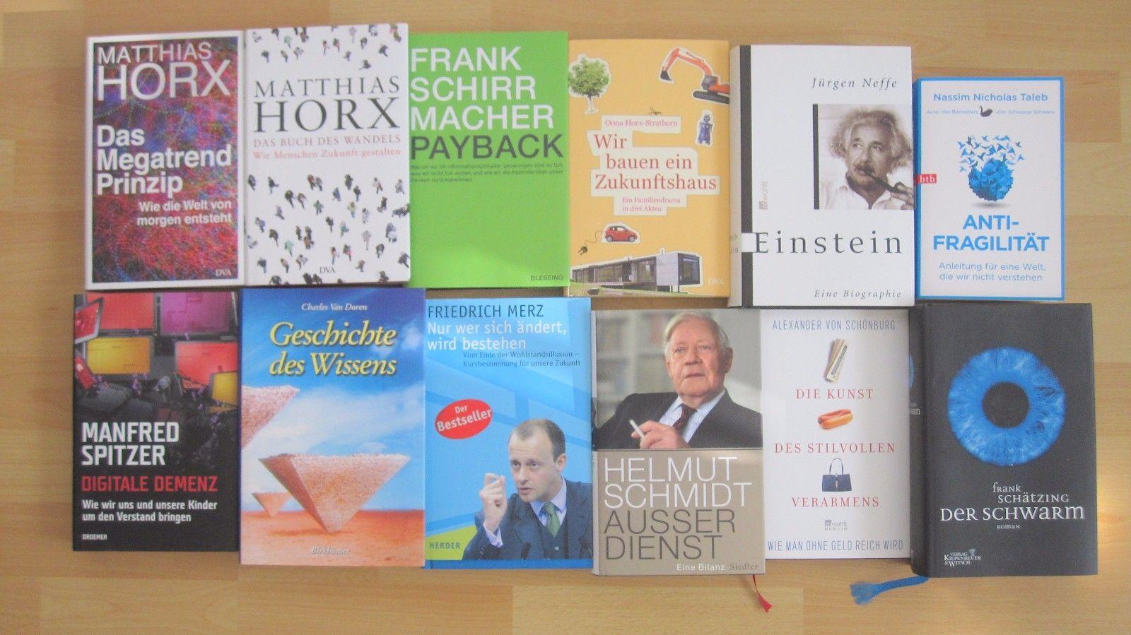 12 Bücher Konvolut / Sachbücher, Wissen, Biografie, Schirrmacher, Horx, Einstein