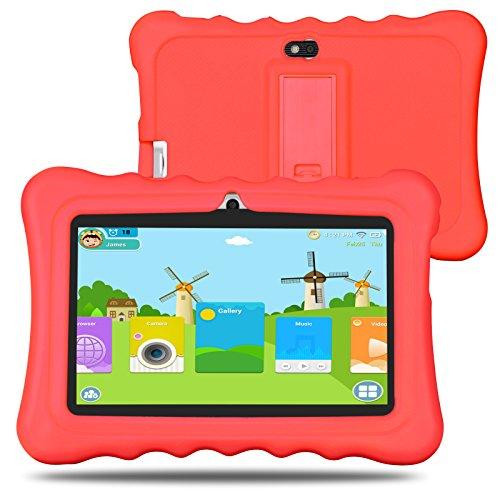 BM Kinder Tablet 8GB 512MB 7 Zoll Quad Core Android 4.4 HD 1024x600 iWawa vorinstalliert mit Spiele App und Audio Buch (Rot)
